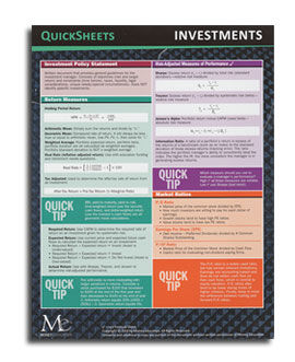 Investments quick sheet