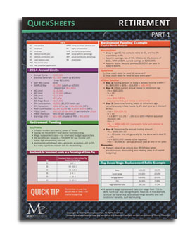 Retirement quick sheets